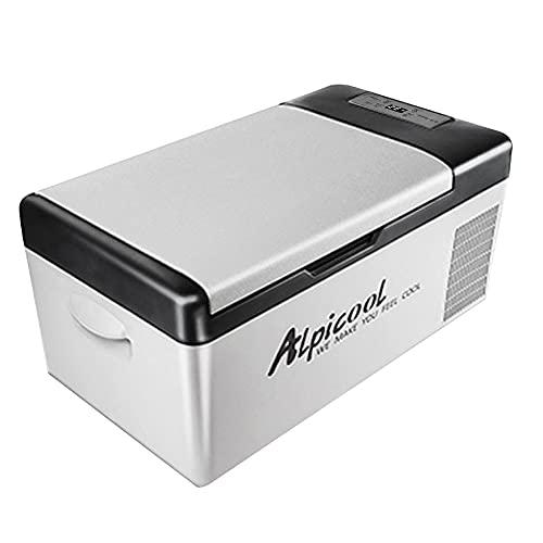 Walmeck Refrigerador portátil para coche, congelador, 15L, compresor de nevera automático, refrigeración rápida, nevera para picnic