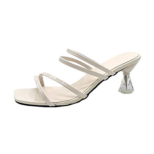 Luckycat Sandalias Y Zapatillas para Mujer Moda de Verano Color Sólido Sandalias de Tacón de Aguja de Dos Usos Tacones Altos de Aguja 5cm