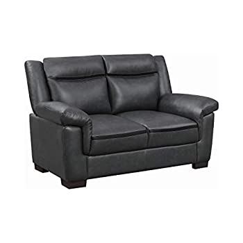 Benjara Gray Benzara Leatherette Loveseat with Cushioned Armrests