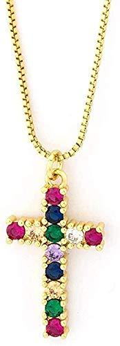 WYDSFWL Collar Arco Iris Cruz Colgante de Cristal Collar de Cadena de Oro AAA Zirconia cúbica Brillante Gargantilla Collares Regalos de joyería para Mujeres Regalo