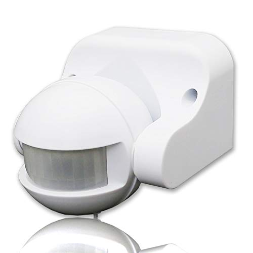 QWYEURO Infrared Motion Sensor Lighting Switch Wall Mounted IP44 12M Range Max.1200W (white)