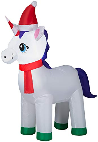 Gemmy Holiday Time Unicorn with Santa Hat and Red Scarf Inflatable, Lights Up, 3.5 Feet Tall