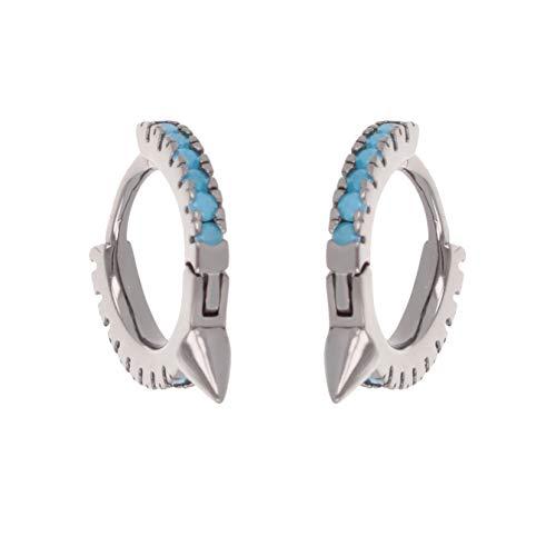 Pendientes de aro de plata chapados en rodio de 2 colores con puntas de color turquesa