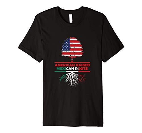 American Raised Mexican Roots Mexican Flag Gift Premium T-Shirt