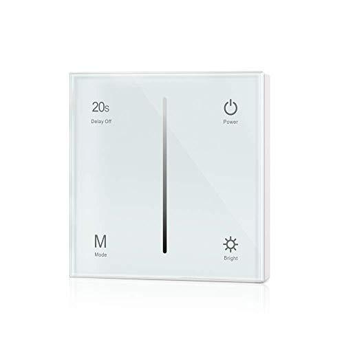 Dimmer-Panel für LED bis zu 240W, Touch-Schalter 230V universal für Phasenabschnitt & -anschnitt, Wandschalter-Controller (Touch-Dimmer/Weiß)