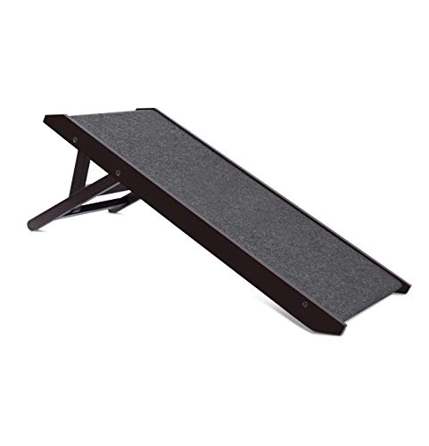 "Internet's Best Adjustable Pet Ramp - Decorative Wooden Folding Dog Ramp for Couch Bed Car - 35"" Long - Soft Paw Friendly Grip Carpet - Height 12-16 Inch - Espresso"