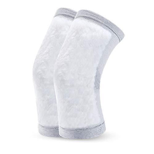 Natuurlijke wol Warme kniebeschermers, Gezamenlijke anti-koude leggings, 100% wollen fietsvergrendelingstemperatuur, glad, zacht en huidvriendelijk, 2 stuks, grijs, XL