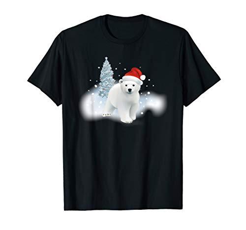 Cute Christmas Polar Bear Red Santa Hat Lighted Tree Snow T-Shirt