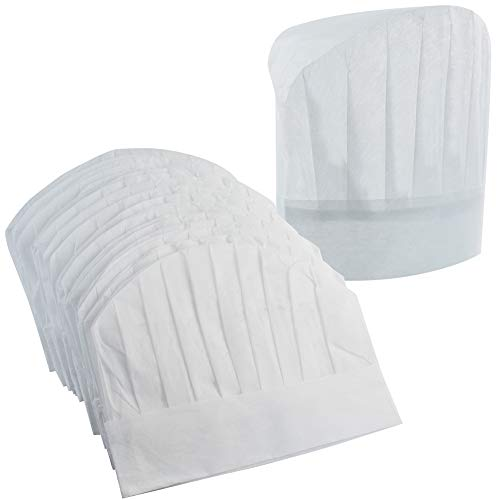 Lee-buty Chef Hats 40 Pcs Disposable Non-Woven Chef Supplies 9' White Culinary Hat Kitchen Cooking Chef Caps for Home Kitchen,Restaurants,Food Occasions,Classes and Parties 23' in Circumference