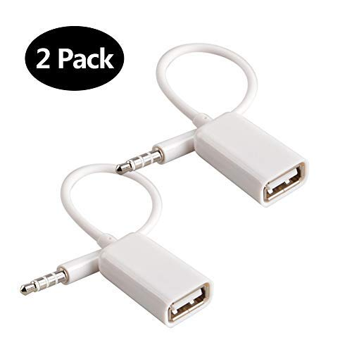 Adattatore da AUX a USB Adattatore jack audio da 3,5 mm maschio per jack audio a USB 2.0 Cavo convertitore convertitore per auto bianco 2 PACK di Oxsubor (FUNZIONE DECODIFICA BISOGNO AUTO)
