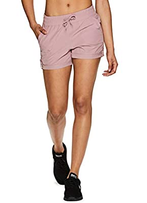 RBX Active Women's Fashion Relaxed Fit Adjustable Waist Quick Drying Stretch Woven Athletic Walking Short with Pockets Spring20 Mauve Pink XL