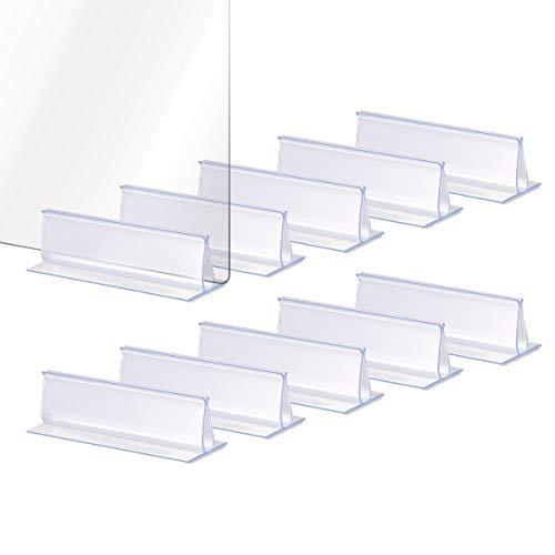 Lenink 20Pcs Self Adhesive Sneeze Guard Holders, Plexiglass Holder Plexiglass Stand for 0.1 to 5mm Thick Fasten Acrylic Panels Plexiglass Sheets