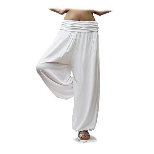 Glamexx24 Damen XXL Leichte Pumphose Haremshose Freizeithose Sommerhose Hose mit vielen Muster 13090, Weiss, M/L