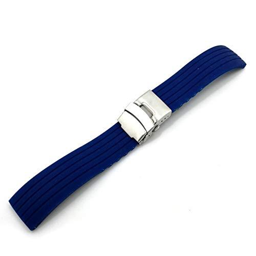 HGGFA Mesa deportiva de silicona con hebilla plegable de 18 a 24 mm de goma impermeable para hombre, accesorios de equipo de música (color de la correa: azul oscuro, plata, ancho de la correa: 20 mm)