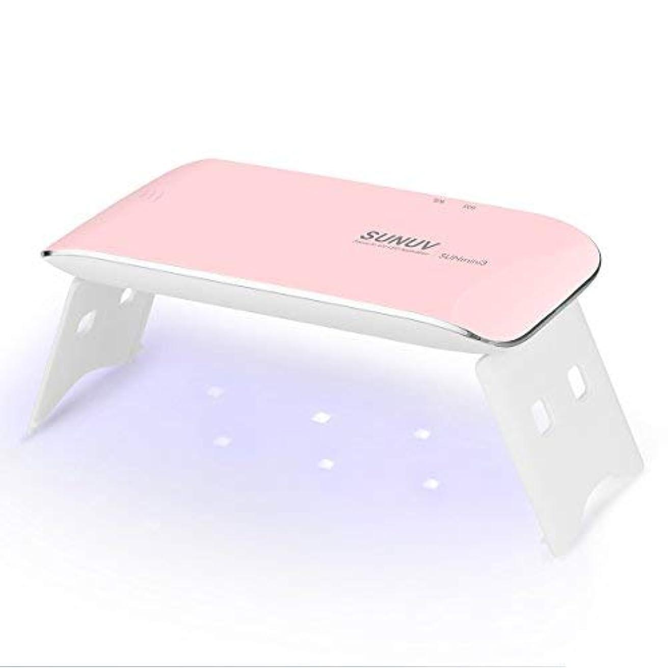 レンジ三登録するSUNUV UV LEDライト ネイルドライヤー mini ミニ ジェルネイルライト 日本語説明書 ネイルライト 6W 初心者 電池 USB給電 2倍の長寿命 カワイイ 携帯式 一年保証期間