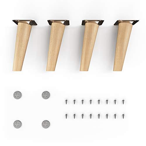 gambe per mobili in legno - sossai® Clif | Finitura ad olio | Altezza: 15 cm | HMF2 | rotondo, conico (design inclinato) | Materiale: legno massello (faggio) | per sedie, tavoli, armadi ecc.