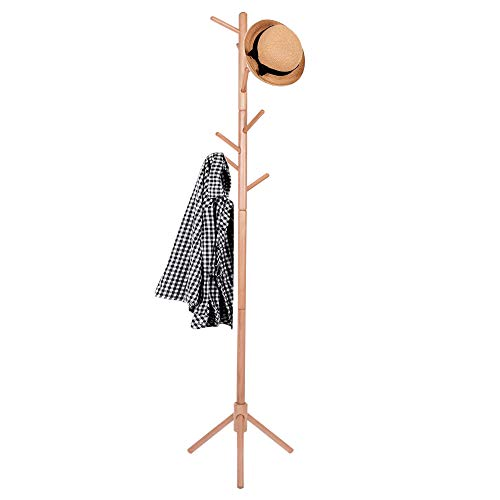 SPRINGOS Perchero de pie de madera con 8 ganchos, 175 cm, resistente, diseño de árbol