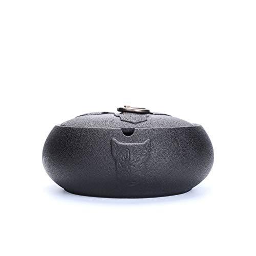Cenicero de cerámica Negra con Tapa al Aire Libre Oficina de café Oficina Oficina Adornos de Escritorio Tapa Tapa Tapa Ashtray 5.78 Pulgadas