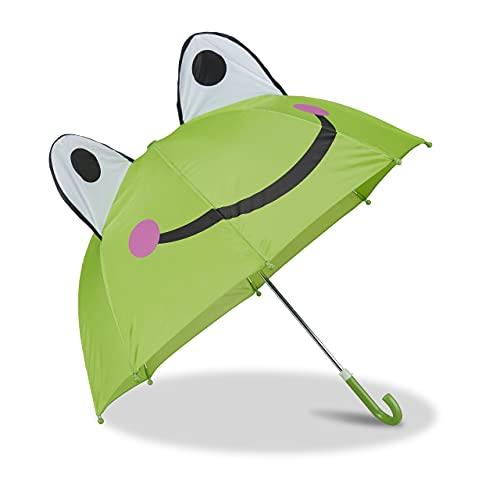Relaxdays Kinderregenschirm mit 3D Frosch, Regenschirm für Mädchen und Jungen, kleiner Stockschirm, grün