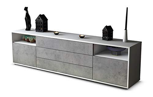 Stil.Zeit TV Schrank Lowboard Bettina, Korpus in Weiss Matt/Front in morderner Beton Optik (180x49x35cm), mit Push-to-Open Technik und Hochwertigen Leichtlaufschienen, Made in Germany