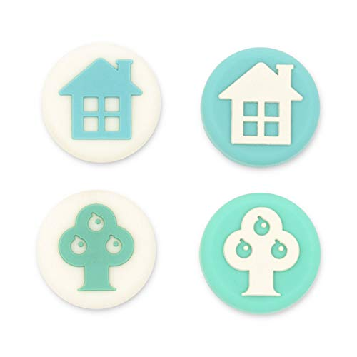 GeekShare 4PCS Silicone Tree and House Joy Con Thumb Grip Set-Nintendo Cover Analog Thumb Stick Grips-Joystick Button Caps for Switch and Switch Lite Controller(Green & Blue)
