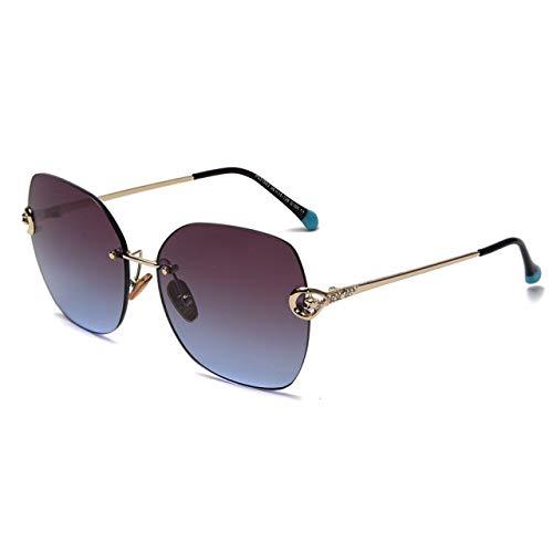 HAOQI Mujere Conducir Moda Polarizadas Gafas De Sol,Mujer Sin Montura Aire Libre Deportes Viajes Gafas,Metal Súper Liviana Marco Gafas,Vintage Protección UV Gafas-C105 14x5.5cm(6x2inch)
