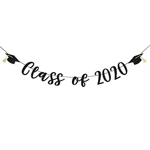 2020 Graduation Banner Black Glittery Class Of 2020 And Graduation Cap Decoration Banner For High School College Nursing Doctor Graduation Party Decoration Supplies Wantitall