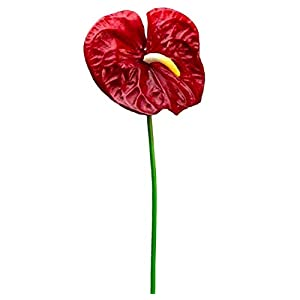 Burgundy – Artificial Anthurium Fake Faux Real Touch Tropical Silk Flowers 27″