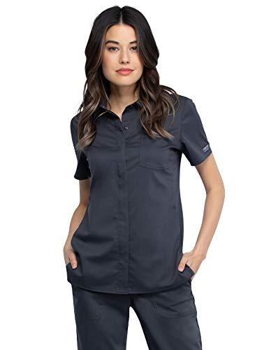 Workwear Revolution Women Scrubs Top Hidden Snap Front Collar WW669, L, Pewter