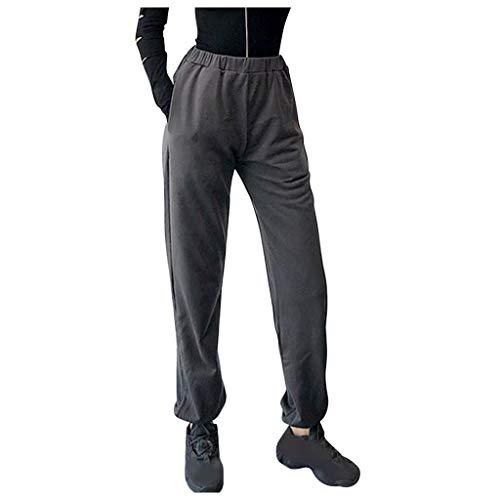 WGNNAA Damen Jogginghose Lang Hose Sweathose Sporthose Freizeithose Trainingshose mit Taschen für Frauen Running Gym Pants Einfarbig