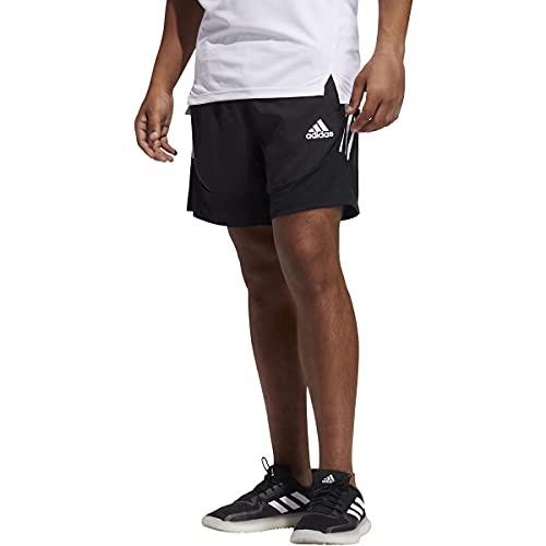 adidas mens AEROREADY 3-Stripes Short Primeblue Black Small