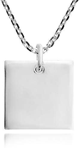 Plain Geometric Square 925 Sterling Silver Pendant Necklace product image