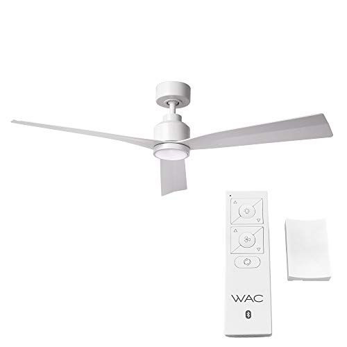 Clean Indoor/Outdoor 3-Blade Smart Compatible Ceiling Fan 52in Matte White with 3000K LED Light Kit and Remote Control with Wall Cradle. Works with iOS/Android, Alexa, and Google Assistant.