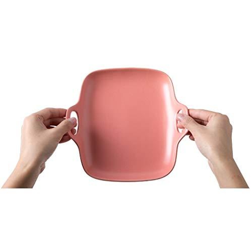 YYF Assiette en céramique carrée givrée - collation/fruits/plat froid/salade/steak de diamètre 18,8 cm (Color : Pink)