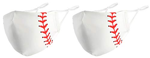 Unisex Washable and Reusable Mouth Face Warm Cotton/Polyester Face Product (2 Pack Baseball)
