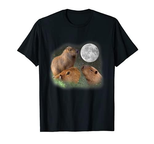 Three Moon Capybaras T-Shirt. Funny Cute Animal Parody Tee