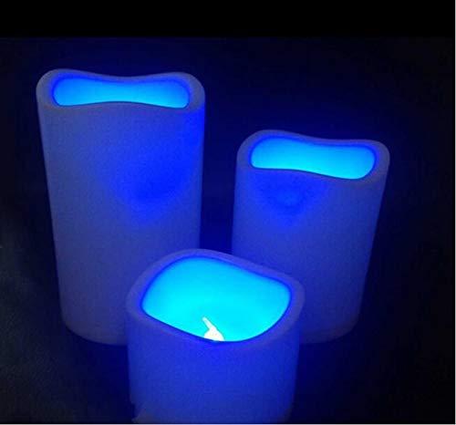 Juego de 3 velas LED con mando a distancia electrónico, 12 cambios de color, parpadeo, sin llama, juego de luz de vela