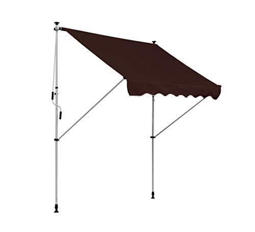 Clothink Toldo para balcón (ancho x alto): 400 x 120 cm, marrón, con estructura, enrollable, protección solar, altura regulable, sin taladrar