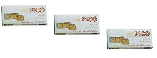 Picó - Das Paket enthält 3 Turron Alicante - Hartes Mandelnougat mit ganzen Mandeln - Höchste Qualität - 200gr (Kein Gluten) - Spanisch nougat / Spanisch turron