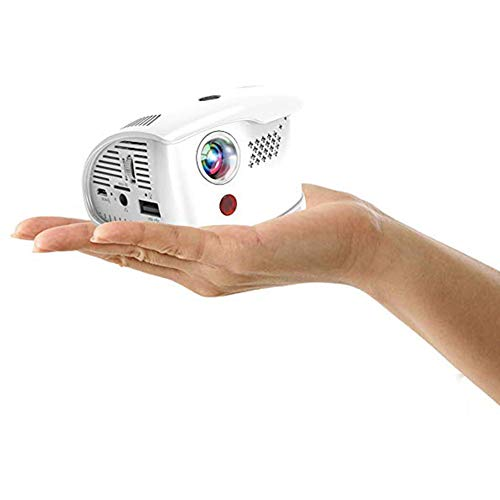 JXFS Mini proyector 1500 lúmenes LED DLP Display Tech con 2 GB de RAM 16 GB de ROM Batería integrada 3800 mAh Soporte 1080p Tarjeta SD HDMI WiFi BT 4.0