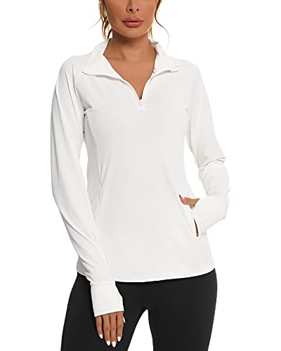 We1Fit Womens 1/4 Zip Shirts UPF 50+ Sun Protection Shirt for Hiking Running Outdoor White