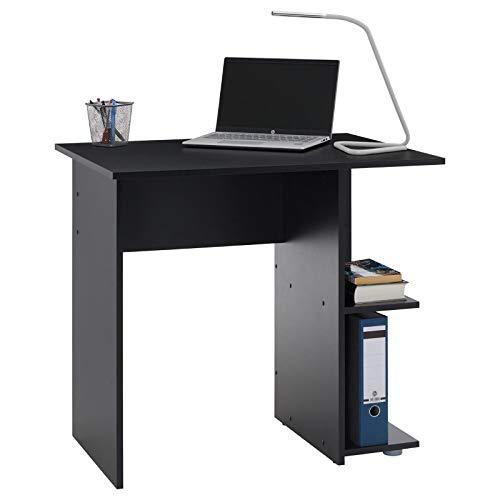 IDIMEX Bureau pour Enfant ou Adulte Nova, Bureau Informatique Table d'ordinateur avec Rangement Ouvert 2 tablettes latérales, en mélaminé Noir Mat