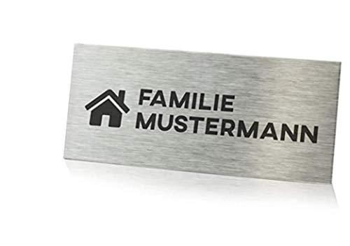 Edelstahl Türschild mit Gravur 8,9x3,0cm / Namensschild - Namensschild Haustür/Klingelschild mit Namen für die Haustür - Keine Werbung Aufkleber/Namensschilder Haustür