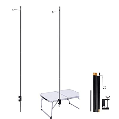 REDCAMP Collapsible Lantern Stand for Camping, 72in Adjustable Heights Lightweight Aluminum Alloy Outdoor Lantern Pole Hanger with Stake End, Black