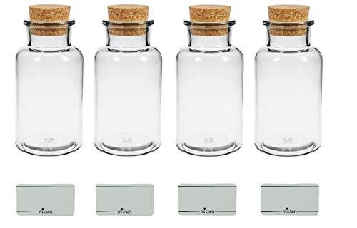 mikken 4 x Apothekerglas 300ml Glasflasche mit Korken inkl. Etiketten