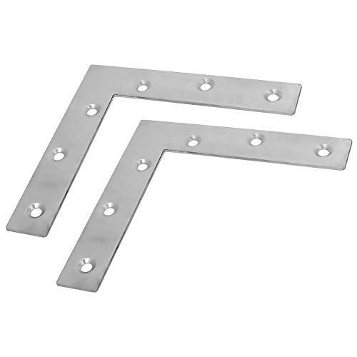 BTMB 2 Pcs Stainless Steel Furniture Flat Right Angle Bracket L Shape Corner Brace Repair Plate 120x120mm/4.7''x4.7''