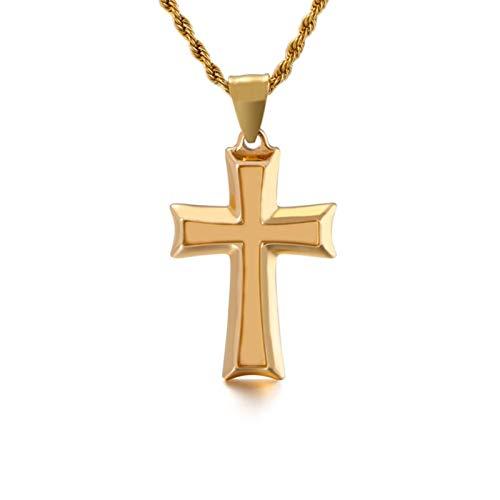KnBoB Edelstahl Halskette für Herren Gold Kreuz Anhänger