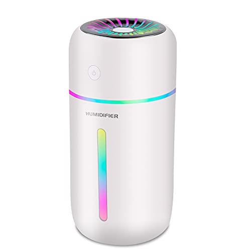 USB Umidificatore, 2 modalità di nebbia Mini super silenzioso Umidificatore, 300ml 7 Colori LED, Auto Spegnimento Senza Acqua, For Baby Room, Yoga, Camera, Ufficio,Viaggio in Auto