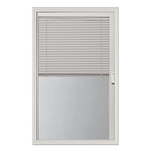 ODL Enclosed Blinds for Doors in Double Pane Tempered Clear Glass - Outer Frame Measurement 24' x 38' - Door Window Shade for Privacy and Security - Easy to Install, Use & Maintain - White Frame Kit