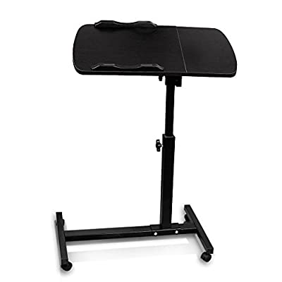 Anferstore Adjustable Turnlift Sit-Stand Mobile Laptop Desk Cart with Side Table